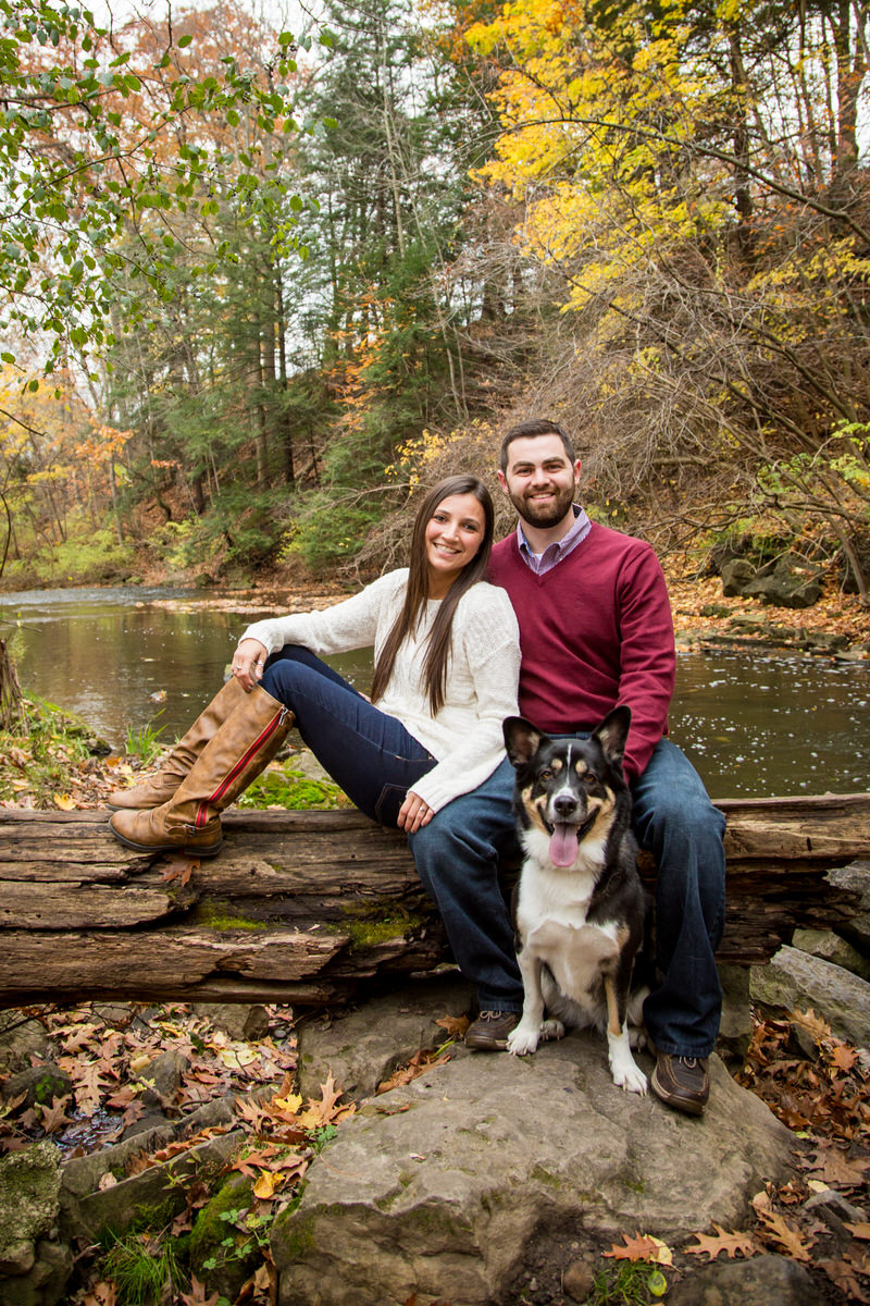 Couple and Dog Fall Engagement